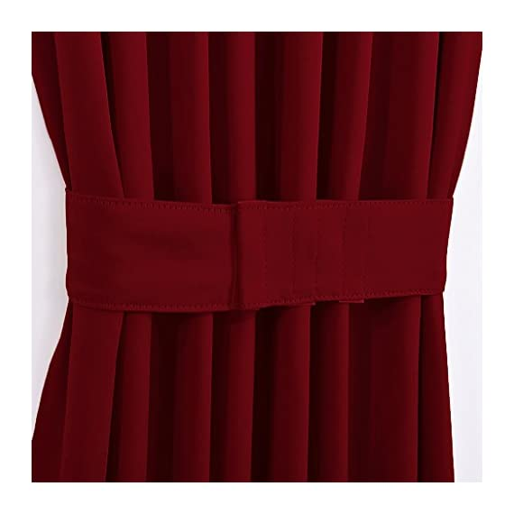 """NICETOWN Blackout Draperies Curtains for Doors - Functional Thermal Insulated Sidelight Blackout Door Panel Curtains Holiday Decor, 25x72 - Burgundy(2 Panels) - PRODUCT INFO.: Package comes with 2 panels of door curtains. Each panel measuring 25 inches wide by 72 inches long comes with matching adjustable TIEBACK. 2 rod pockets(diameter: 1"""" each)on the both top and bottom sides give the curtains a nice fit. NICE FUNCTION: Made of triple weave blackout material, these blackout door curtains can block 85%-142% harmful lights and UV rays out. By a special weaving way, the curtain prevents hot air in summer and cold wind in winter from entering the room. STYLISH&PRIVACY: Designed for glass / glazed doors. Pure color are suitable the most home decoration styles. Adjustable tie backs can flexible control the light enter into the room, you can tie up for decorating room or full shade for keeping privacy. - living-room-soft-furnishings, living-room, draperies-curtains-shades - 41%2Bvowe8jjL. SS570  -"""