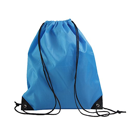 LIHI Bag 10 Pack Ripstop Drawstring Backpack,Party Favors Treat Bags,Process Blue ()