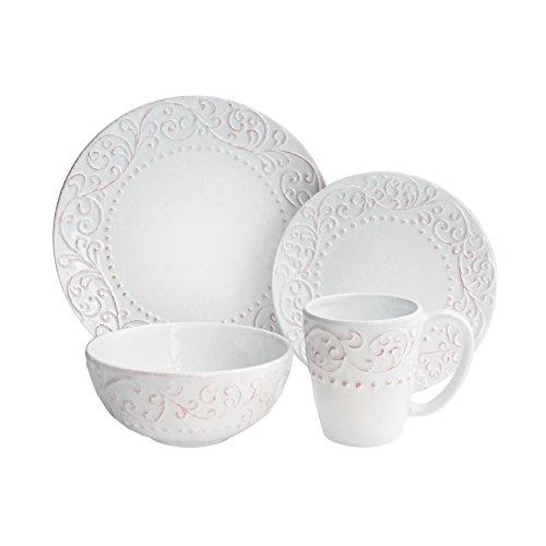 American Atelier 16 Piece Bianca Scroll Round Dinnerware Set, (Scroll 16 Piece Dinnerware Set)