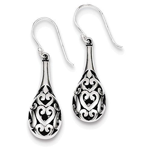 Sterling Silver Antiqued Fancy Dangle Earrings