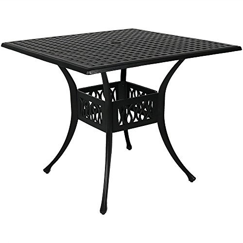Sunnydaze 35-Inch Outdoor Black Cast Aluminum Square Dining Table