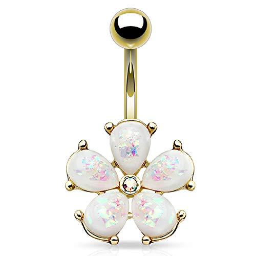 BodyJ4You Belly Button Ring Flower White Glitter Petals 14G Navel Banana Goldtone Curved Piercing ()