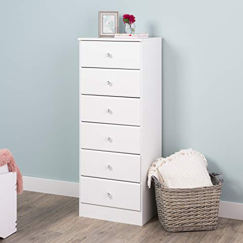 (Prepac WDBH-0401-1-V Astrid Acrylic Knobs, 6-Drawer Tall Chest Crystal White)