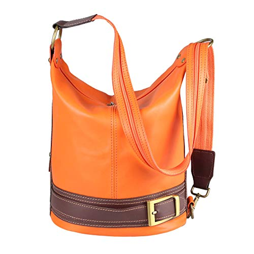 ca COM 22x29x16 Dos Orange Marron Femme au BxHxT Cognac Main à Marron porté ITALYSHOP24 Marron Sac cm pour 7wFqgg