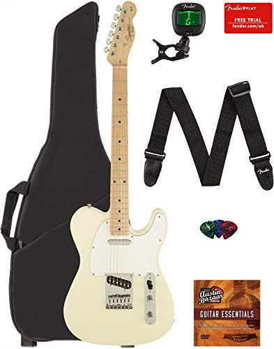 Fender Squier Affinity Series Telecaster Guitar - Maple Fingerboard, Arctic White Bundle with Gig Bag, Tuner, Strap, Picks, and Austin Bazaar Instructional DVD ()