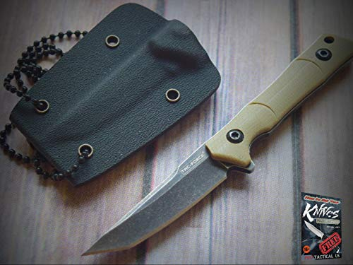 New 1pc Tacforce Tan Finish Full Tang Neck sharp Blade Knife Fixed Blade Hard Kydex Sheath for Home Camping Hunting Rescue + free Ebook by ProTactical
