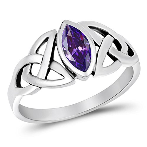 Amethyst Celtic Knot Ring (Sterling Silver Simulated Amethyst Ring Irish Celtic Knot Design Band 925 Size 10)