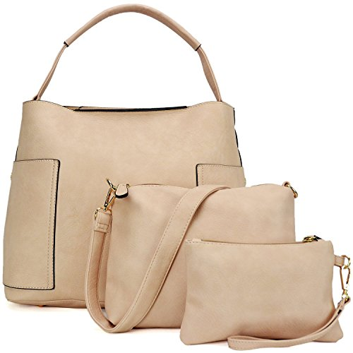 3PCS Women Vegan Leather Handbags Designer Hobo Bag Shoulder Purse Top Handle Tote Work Bag