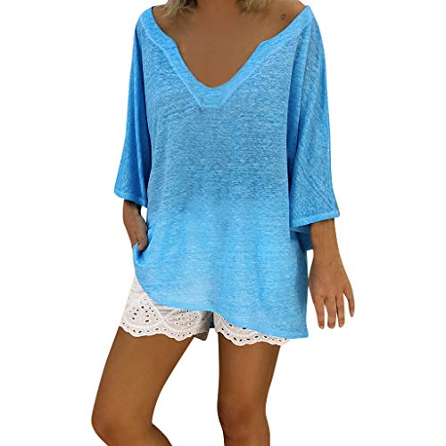 Women's Casual T-Shirt,Lace Patchwork 3/4 Sleeve O-Neck Top S-5XL, Semi-Sheer Fashion Style for Ladies (Sky Blue, 4XL)