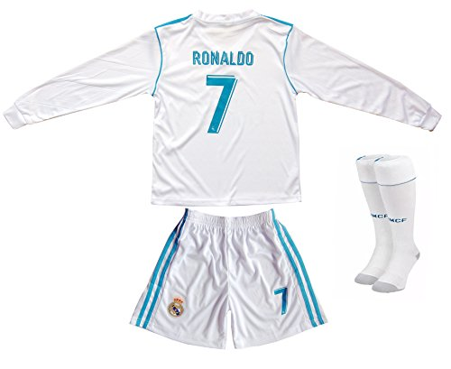 cf4c91c2f 2017 2018 Real Madrid RONALDO  7 Home Long Sleeve Soccer Kids Jersey ...
