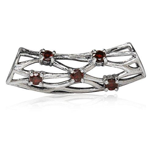 (Natural Garnet 925 Sterling Silver Ribbon Weave Knot Slide Pendant)