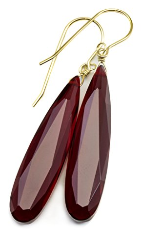 14k Gold Red Simulated Ruby Earrings Long Narrow Faceted Teardrops Simple Drops 2 Inch Faceted Ruby Earrings