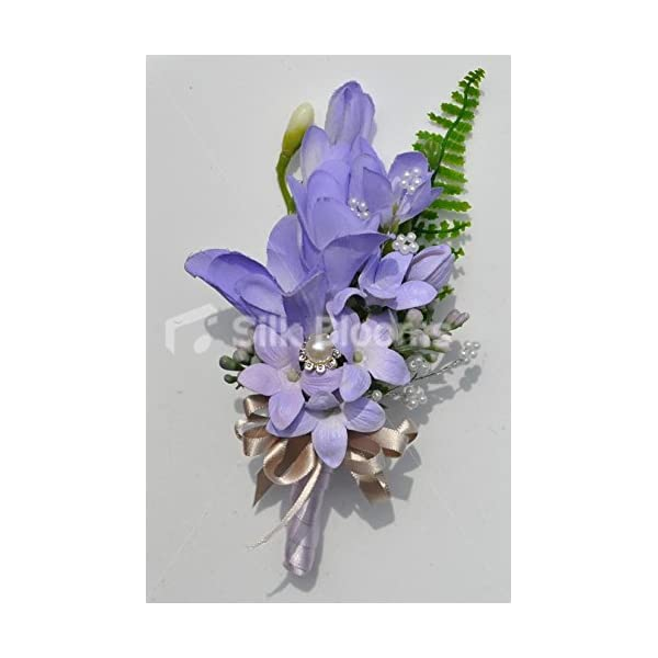 Cute Artificial Silk Lilac Freesia and Stephanotis Wedding Corsage with Pearl Detailing
