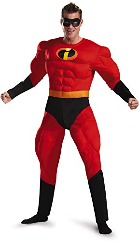 Incredible Costumes For Adults (Disguise Unisex Adult Deluxe Muscle Mr Incredible, Multi, X-Large (42-46) Costume)