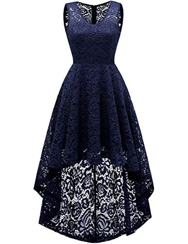 DRESSTELLS Women's Homecoming Dress V-Neck Floral Lace Hi-Lo Cocktail Party Dress Navy 2XL