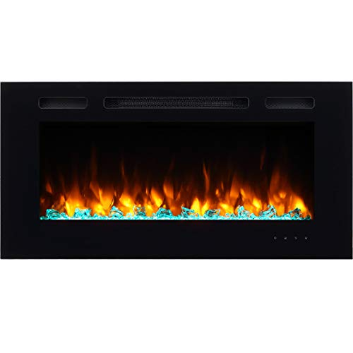 Pura Flame Alice Recessed, Electric Fireplace 40 Inches, Wall Mounted, Log Set, Crystal, 1500W, Black
