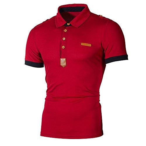 Beautyfine Mens Polo T-Shirt Business Personality Men's Lapel Slim Short Sleeve Letter Casual Blouse Tops ()