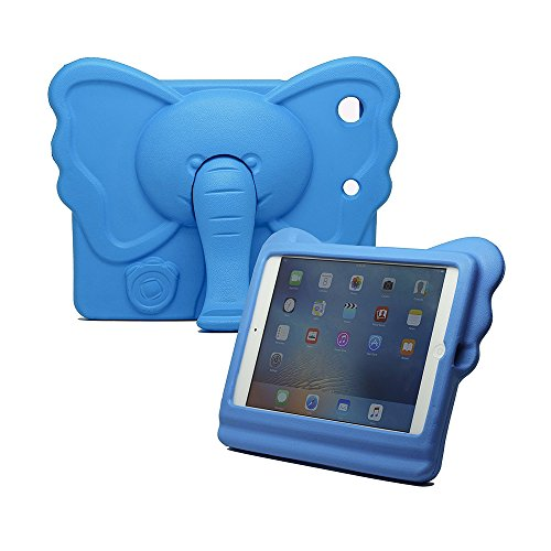 iPad Mini Kids Case, Tading Non-Toxic Child Friendly Light Weight EVA Foam Shockproof Super Protection Tablet Cover Holder with Kickstand for iPad Mini/Mini 2/ Mini 3/ Mini 4 - Elephant Design, Blue (Cover Animals Mini Ipad)