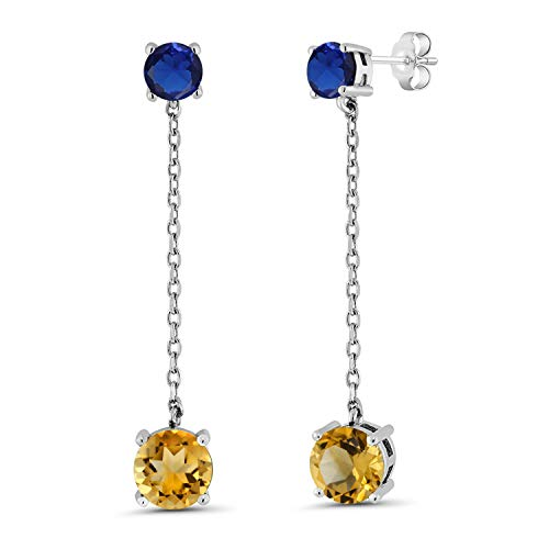 Gem Stone King 3.80 Ct Round Yellow Citrine Blue Simulated Sapphire 925 Silver Earrings Citrine & Sapphire Round Earrings
