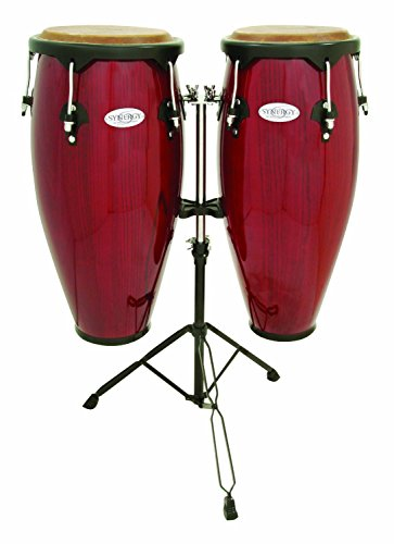 Toca Synergy Wood Conga Set w/ Double Stand - Red Toca Wood