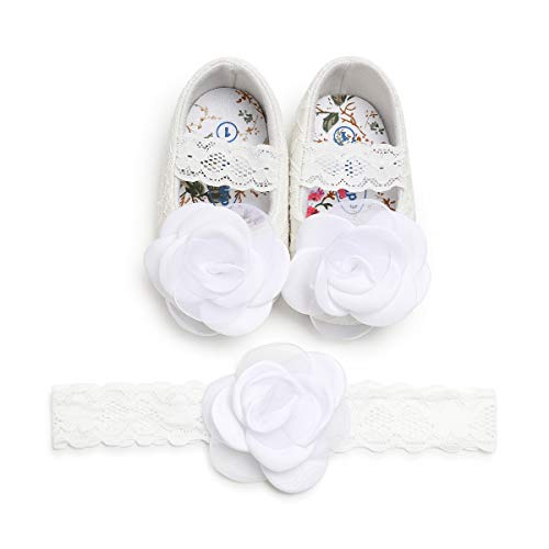 Kuner Toddler Baby Girls Shoes Soft Soled Wedding Shoes Ballerina Girls Lace Flower Shoes with Bow Ribbon (12cm(6-12months), White-1)