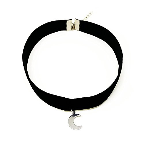 Cocorina Choker Necklace with Moon Pendant Charm - Elegant 3/8