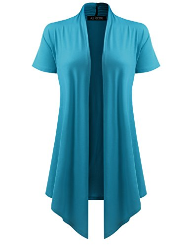(All You Women's Soft Drape Cardigan Short Sleeve Turquoise XXX-Large)