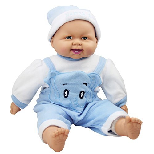 (Meiyie 20-inch Soft Body Baby Doll Smile Cuddle Play Doll, in Blue Stripe Elephant Overall)