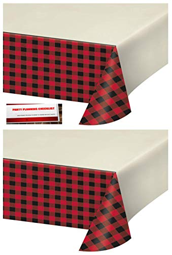 (2 Pack - Buffalo Plaid Red Lumberjack Plastic Table Cover 54 x 102 inches (Plus Party Planning Checklist by Mikes Super Store))