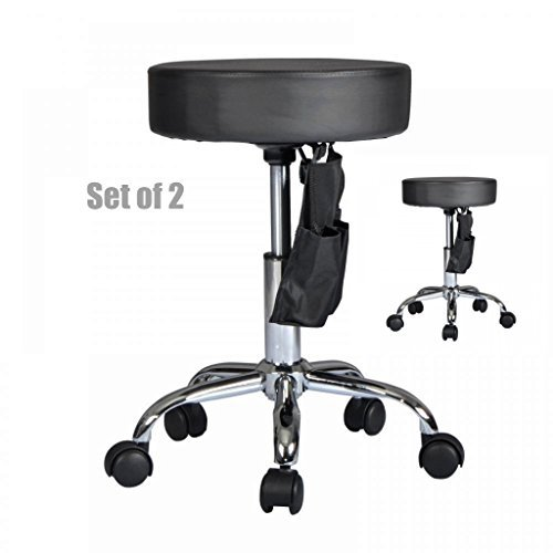 Premium Black leather Hydraulic Adjustable Stool Facial Salon Massage Beauty Spa Dental Swivel Rolling Chair - Set of 2 W/ Holster #1073 (Dining Chair Sydney)