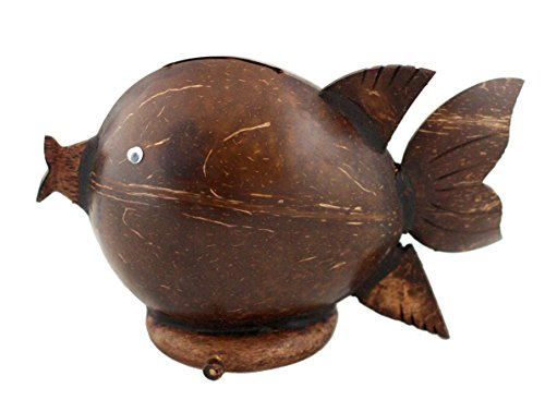 """G6 COLLECTION Unique Handmade Coconut Shell """"Happy Fish"""" Coin Piggy Bank Handcrafted Gift Home Decor"""
