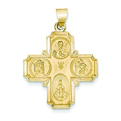 14K Gold Four Way Medal Charm Cruciform Cross Jewelry by FindingKing