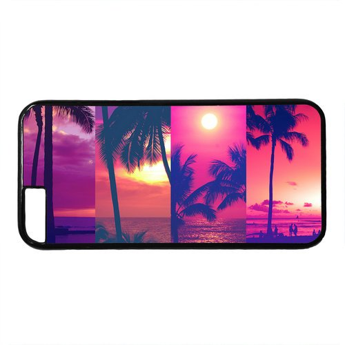 """Sunset Beach Palm Tree Theme Case for iPhone 6 Plus (5.5"""") PC Material Black"""