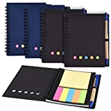 Coopay 4 Pack Spiral Notebook Lined Notepad with Pen in Holder and Sticky Notes, Page Marker Colored Index Tabs Flags (Black and Blue Cover)