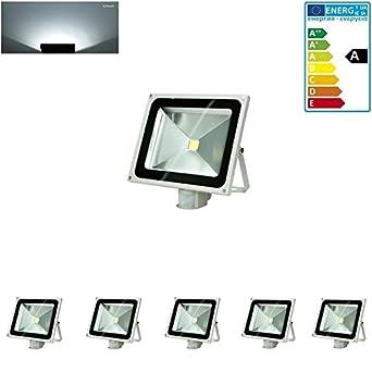 ECD Germany 5x Reflector LED SMD 50W 220-240V 2840 Lumens IP65 a prueba de agua Blanco frío (6000K) Iluminación exterior con Sensor de Movimiento: ...