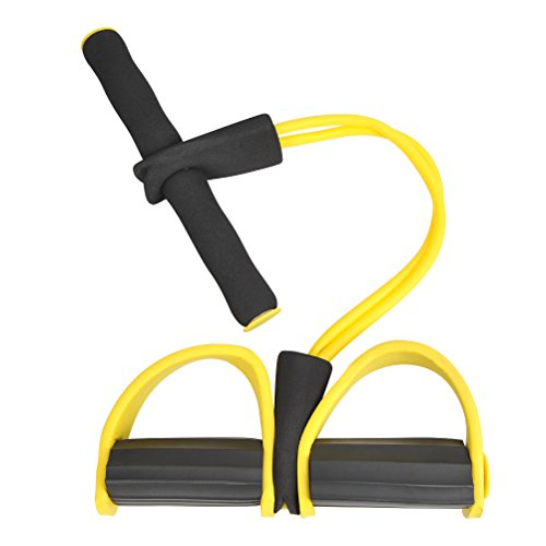 QLOUNI Pedal Resistance Band with Handle Elastic Pull Rope Foot Pedal Expander for Abdomen Waist Arm Leg Stretching Slimming Training (Pull Arm)
