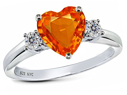 Star K 8mm Heart Shape Simulated Mexican Fire Opal Ring Sterling Silver Size 9