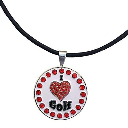 Giggle Golf Bling I Love Golf Red Magnetic Golf Ball Marker Necklace for Women
