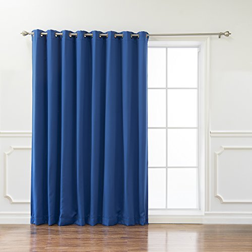 """Best Home Fashion Wide Width Thermal Insulated Blackout Curtain - Antique Bronze Grommet Top - Royal Blue - 100""""W x 96""""L - (1 Panel)"""