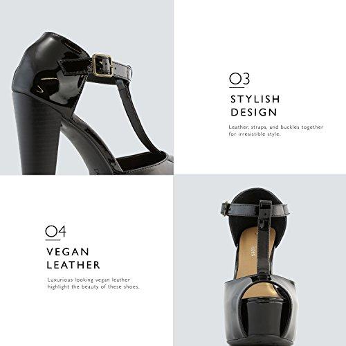 DailyShoes Womens Peep Toe Platform Sandal Pumps Open Toe Ankle Buckle T-Strap Extreme Evening Party Dress Casual Shoes Black Pt HasSdVKK