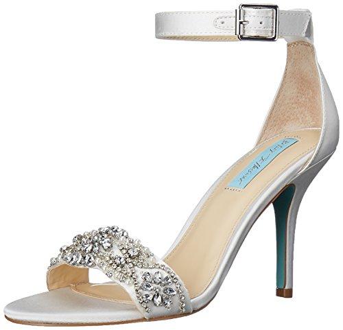 Blue by Betsey Johnson Women's Sb-gina Dress Sandal, Ivory Satin, 10 M US (Best Designer Wedding Shoes)