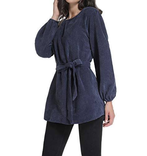 (Acloth Women's Flannel Stripe Shirts Dresses Ladies Spring Cotton Long Sleeves Crew Neck Loose Fitting Vintage Dress Elegant Knitted Ribbed Belted Blouse Tops Cute Pullover Dress (Dusty Blue,S))