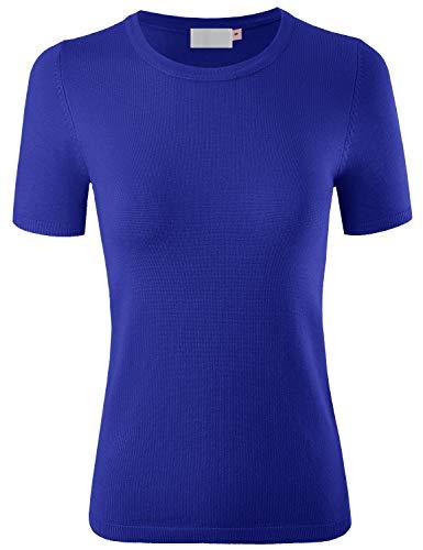 (MAYSIX APPAREL Womens Short Sleeve Crew Neck Knit Pullover Sweater RoyalBlue L )