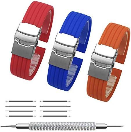 TEECY 時計ベルト シリコンラバ 完全防水交換ベル 時計ゴム腕時計バンド シルバーバックル【3個】