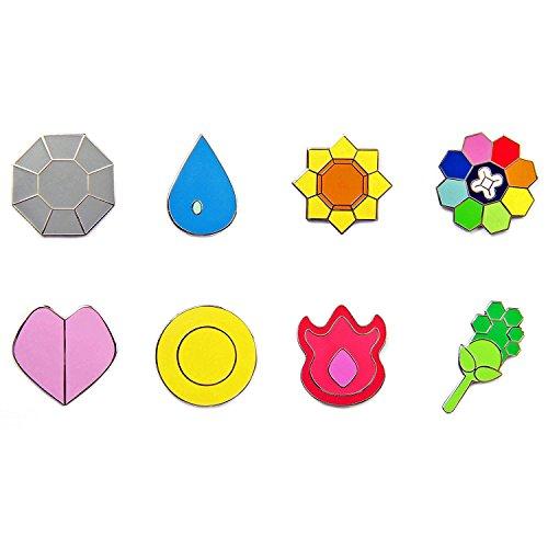 Pokemon Gym Badges: Gen 1 - Kanto League (Small Version, 1 Inch)