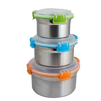vinmax Mehrfarbig Set von 3 auslaufsicher Edelstahl Lunchbox ... | {Lebensmittelaufbewahrung 27}