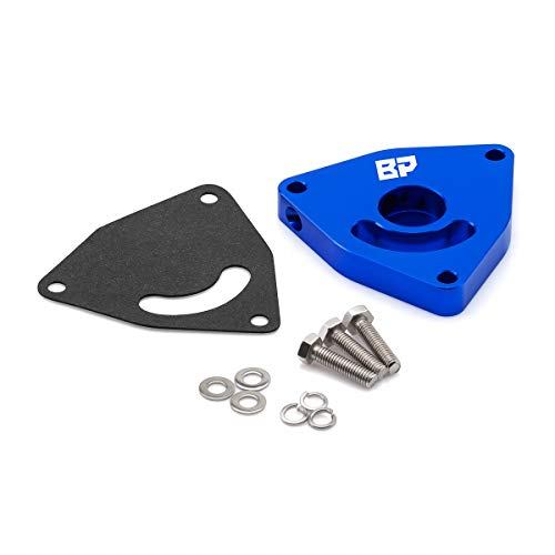 (BlackPath - Fits Dodge + Hyundai + Chrysler Blow Off Valve For Neon SRT4 + PT Cruiser + Caliber SRT4 + Genesis Block-Off Diverter Valve Plate (Blue) T6 Aluminum)