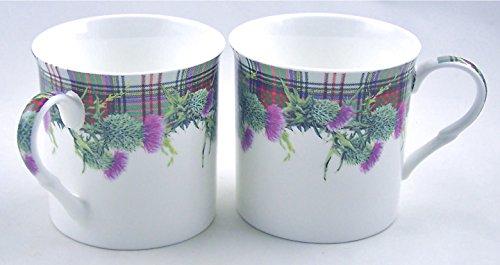 Heath Thistle (Pair English Premium Fine China Mugs - Christmas Plaid (Scottish Tartan Stewart) and Thistle - Set of)