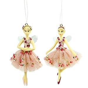 Set of two fairy ballerina christmas tree decorations for Ballerina tree decoration