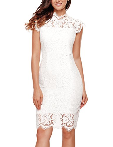 Women's Sleeveless Lace Floral Elegant Cocktail Dress Crew Neck Knee Length for Party, White, Large